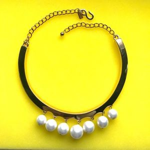 Kenneth Jay Lane Metal Gold Pearl Choker Necklace